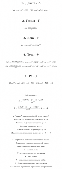 Греческие буквы для европейского опциона по модели Black-Scholes-Merton